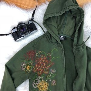 Lucky Brand Hoodie Size Medium Green Embroidered